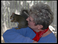 Denise and her squirrel, Bullwinkle